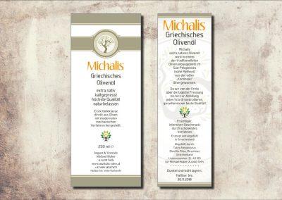 Etiketten für Olivenölflaschen